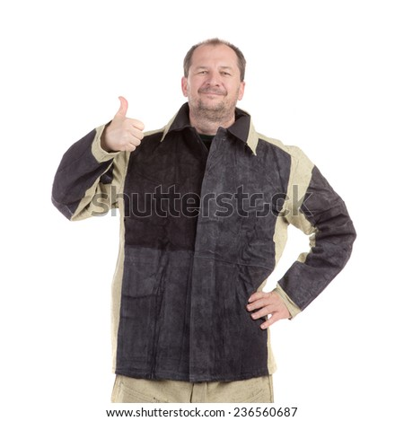 Smiling worker with ok sign. Isolated on a white background. - stock photo