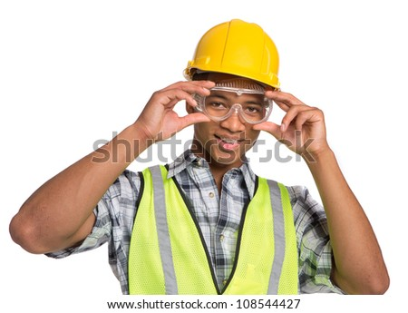Smiling Young African American  Construction Worker Holding Hardhat Portrait Isolated - stock photo