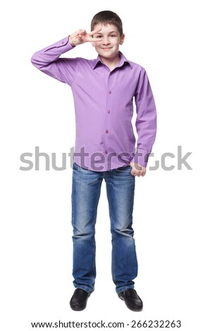 Smiling young boy in shirt and jeans full lenght isolated on white - stock photo