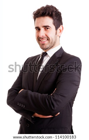 Smiling young business man isolated on white background - stock photo
