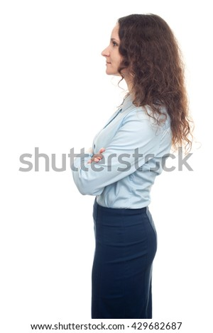 smiling young business woman profile isolated on white background - stock photo