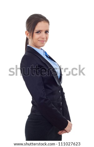 Smiling young business woman standing and holding her hands together. Looking at the camera, on white background - stock photo