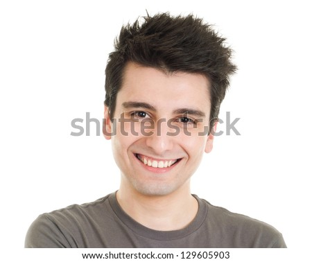 smiling young casual man portrait isolated on white background - stock photo