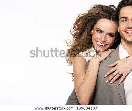 Smiling young couple - stock photo