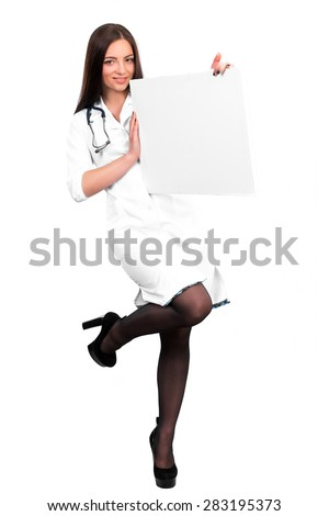 smiling young doctor with stethoscope showing clipboard with copy space for text or design. nurse holds an empty plate in hand - stock photo