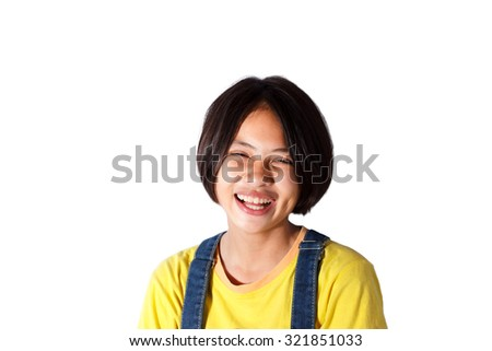 smiling young girl with isolated background - stock photo