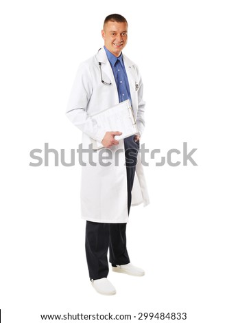 smiling young male doctor isolated on white background - stock photo