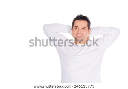 Smiling young man dreaming at his future over white - stock photo
