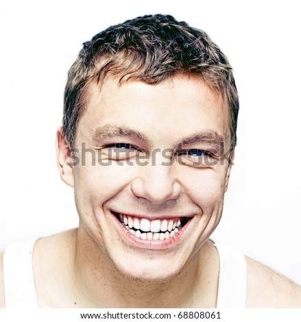 smiling young man portrait photo - stock photo