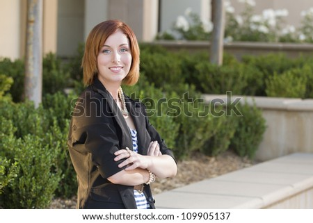Smiling Young Pretty Businesswoman Portrait Outside. - stock photo