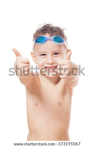 Smiling young swimmer on isolated white - stock photo