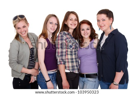 Smiling young teenager girls together, friendship - stock photo