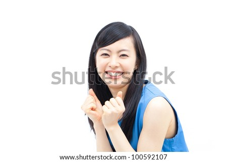 smiling young woman isolated on white background - stock photo
