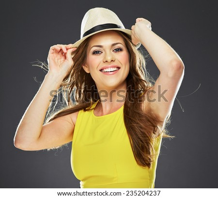 smiling young woman portrait . big smile. long hair. - stock photo