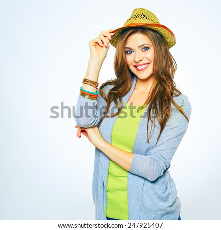 Smiling young woman portrait isolated on white background. Toothy smile. yellow hat, long hair. - stock photo