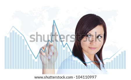 smiling young woman touching business chart over white background - stock photo