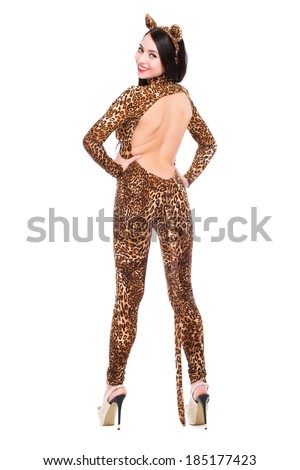 Smiling young woman wearing slinky leopard suit. Isolated on white - stock photo