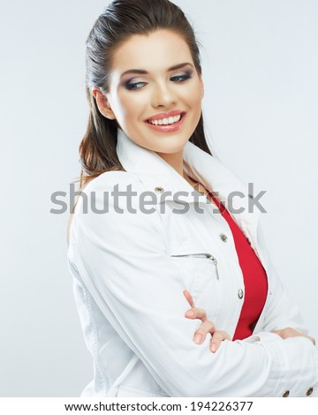 Smiling young woman white background isolated. Studio portrait. - stock photo