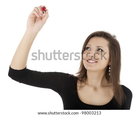 smiling young woman writing or drawing something on screen with red marker - stock photo