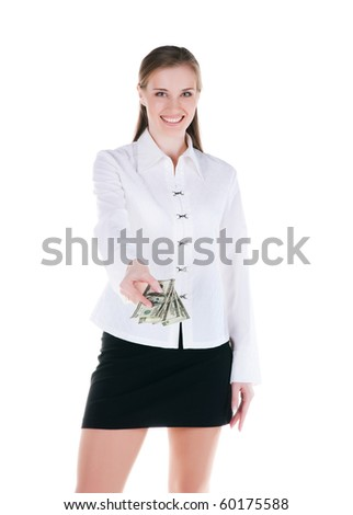 Smiling young women with the money - stock photo