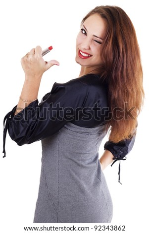 Smilling woman with red lipstick isolated on white - stock photo