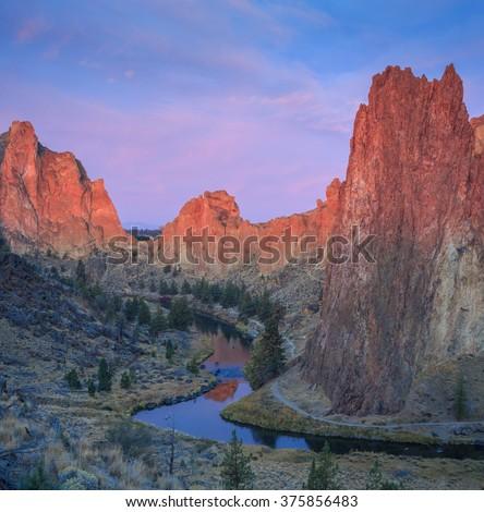 Smith Rock State Park, Oregon,USA - stock photo
