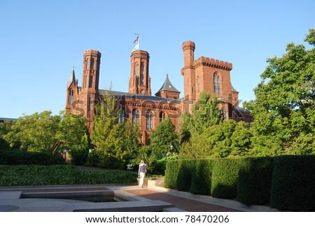 Smithsonian Castle in Washington DC - stock photo