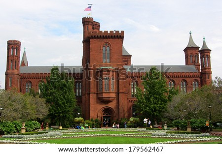 Smithsonian Castle, Washington DC - stock photo