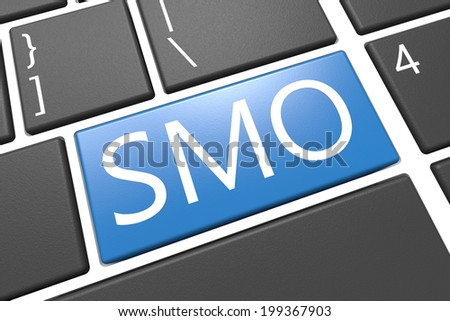 SMO - Social Media Optimization - keyboard 3d render illustration with word on blue key - stock photo