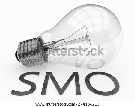 SMO - Social Media Optimization - lightbulb on white background with text under it. 3d render illustration. - stock photo