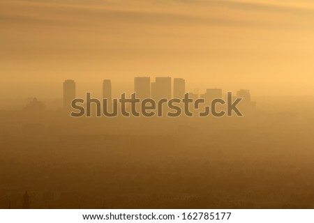 Smoggy foggy afternoon in west Los Angeles, California. - stock photo