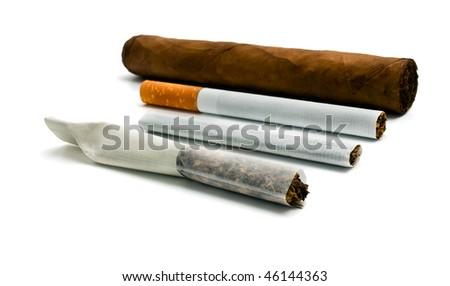 smokables on a white background - stock photo