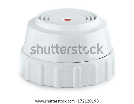 Smoke and fire detector isolated on white - stock photo