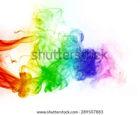 smoke color background,  colorful smoke on white - stock photo