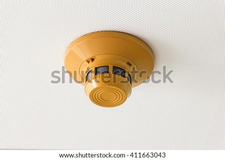 smoke detector of fire alarm - stock photo