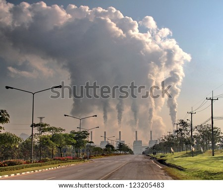 smoke from coal power plant, Industry pollution - stock photo