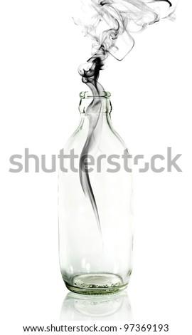 Smoke from Glass bottle - stock photo