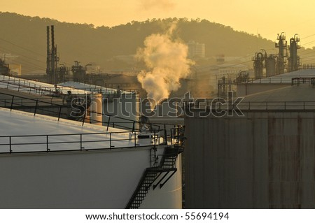 smoke in oil tank - stock photo