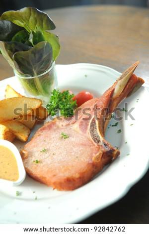 smoke pork ribs - stock photo