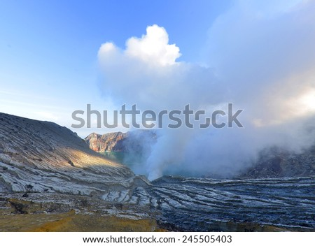 smoke sulfur from Ijen Crater, Mount Ijen, East Java, Indonesia. - stock photo