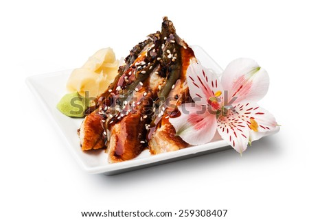 smoked Eel sashimi with withe plate isolated on white background - stock photo