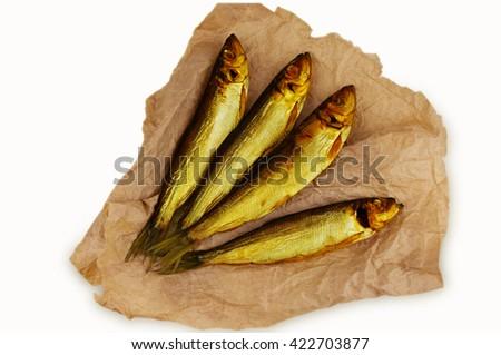 Smoked fish. - stock photo