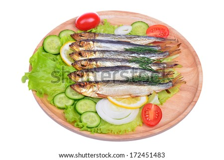 Smoked fish, salad and onion isolated on white background - stock photo