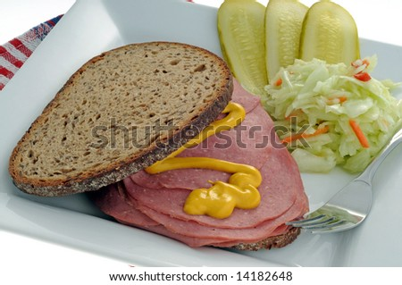 Smoked meat sandwich served with pickles and coleslaw. - stock photo
