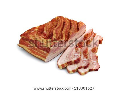 Smoked ribs and meat  isolated on white background - stock photo