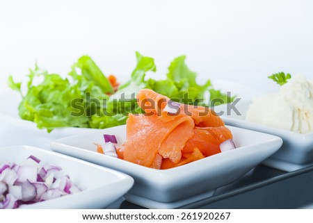 Smoked Salmon Lox platter with red onion, and cream cheese. - stock photo