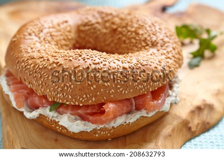 Smoked salmon lox with a cream cheese - stock photo