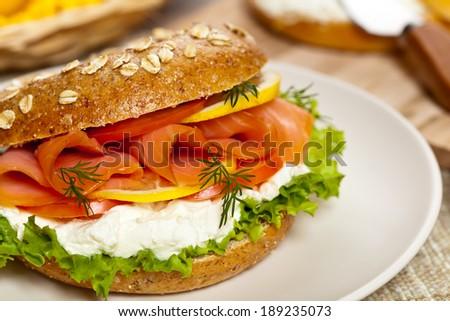 Smoked Salmon Sandwich. Selective focus. - stock photo