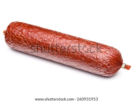 Smoked sausage salami isolated on white background cutout - stock photo