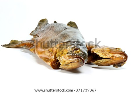 smoked trouts isolated on white background - stock photo
